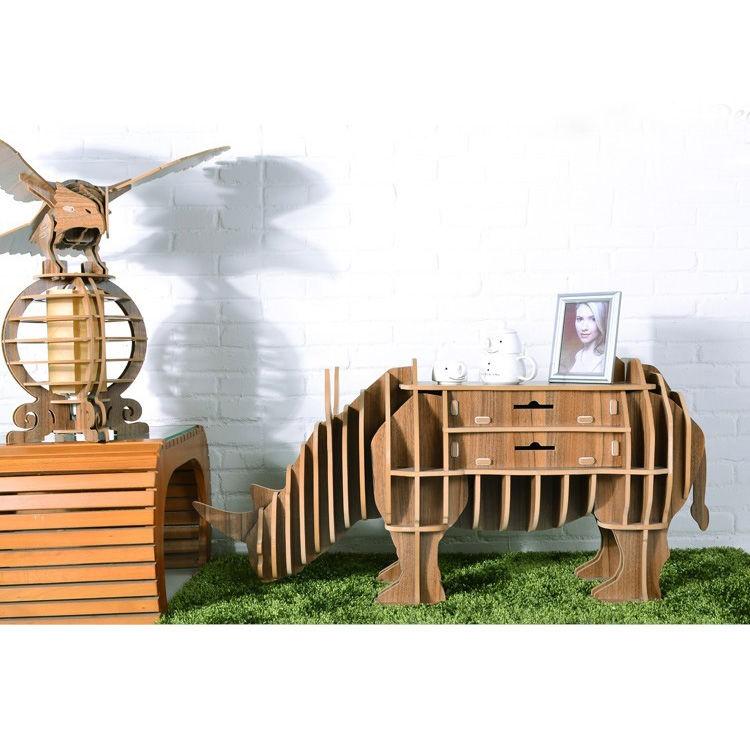 Композиция - дзайнерский шкаф-стол-полка Носорог + Орел элемент декора Орёл